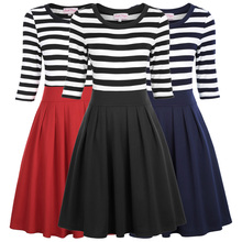 Belle Poque Summer Retro Vintage Navy Style Stripe Pattern 3/4 Sleeve A-line Dress Crew Neck