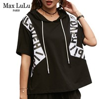Max LuLu 2019 Summer Luxury Korean Ladies Hooded Streetwear Womens Fitness T Shirts Crop Tops Tee Female Casual Oversized Tshirt