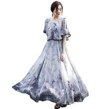 Women's Chiffon Dress Short Sleeve Off-Shoulder Boho Beach Summer Dress Print Flower Maxi Dress Vestidos raglan sleeve chiffon maxi dress