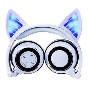 Cat Ear Bluetooth Headphone Sports Stereo Surround Long Standby Music Subwoofer Belt Wheat Folding Control Universal Headset