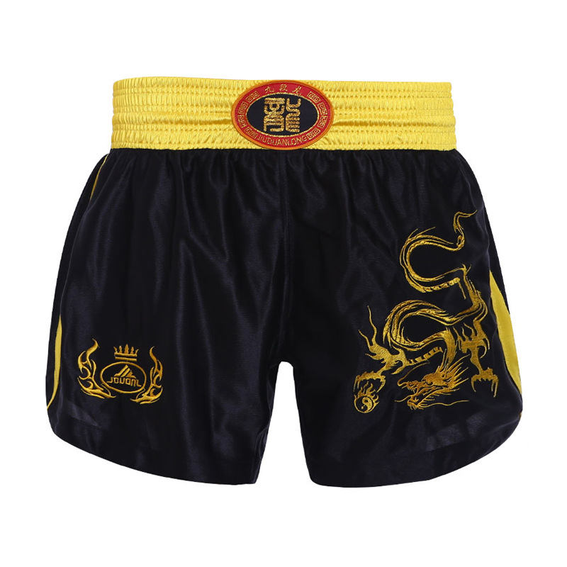 Thai kick boxing shorts Black with embroidered Scorpio on the front.