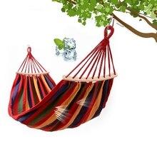 Hamacas de un solo columpio, silla de viaje portátil para acampar al aire libre, hamaca de palo de madera a rayas de arco iris