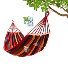 Hammocks Single Swing Portable Outdoor Camping Travel Chair Rainbow Striped Wooden Stick Hammock