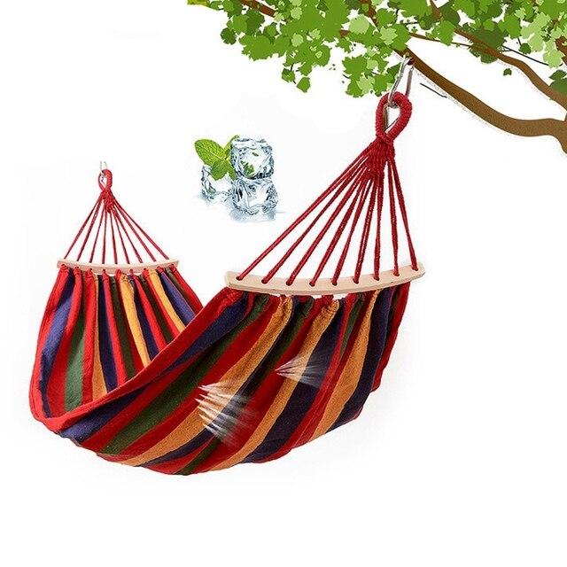 เปลญวนSingle SwingแบบพกพาOutdoor Campingเก้าอี้สายรุ้งลายไม้เปลญวน