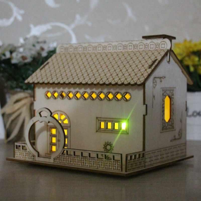 1pc Home Decoration Night Light Money Box New Creative Wooden Villa Small Courtyard Piggy Bank Wooden Kid Gift