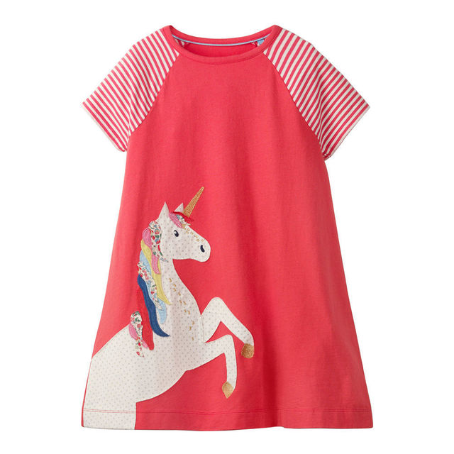 415ea16c Littlemandy Girls Dress Unicorn 2019 Summer Short Sleeved Girl Tunic Dresses  Baby Girls Clothes Pattern Princess Vestidos