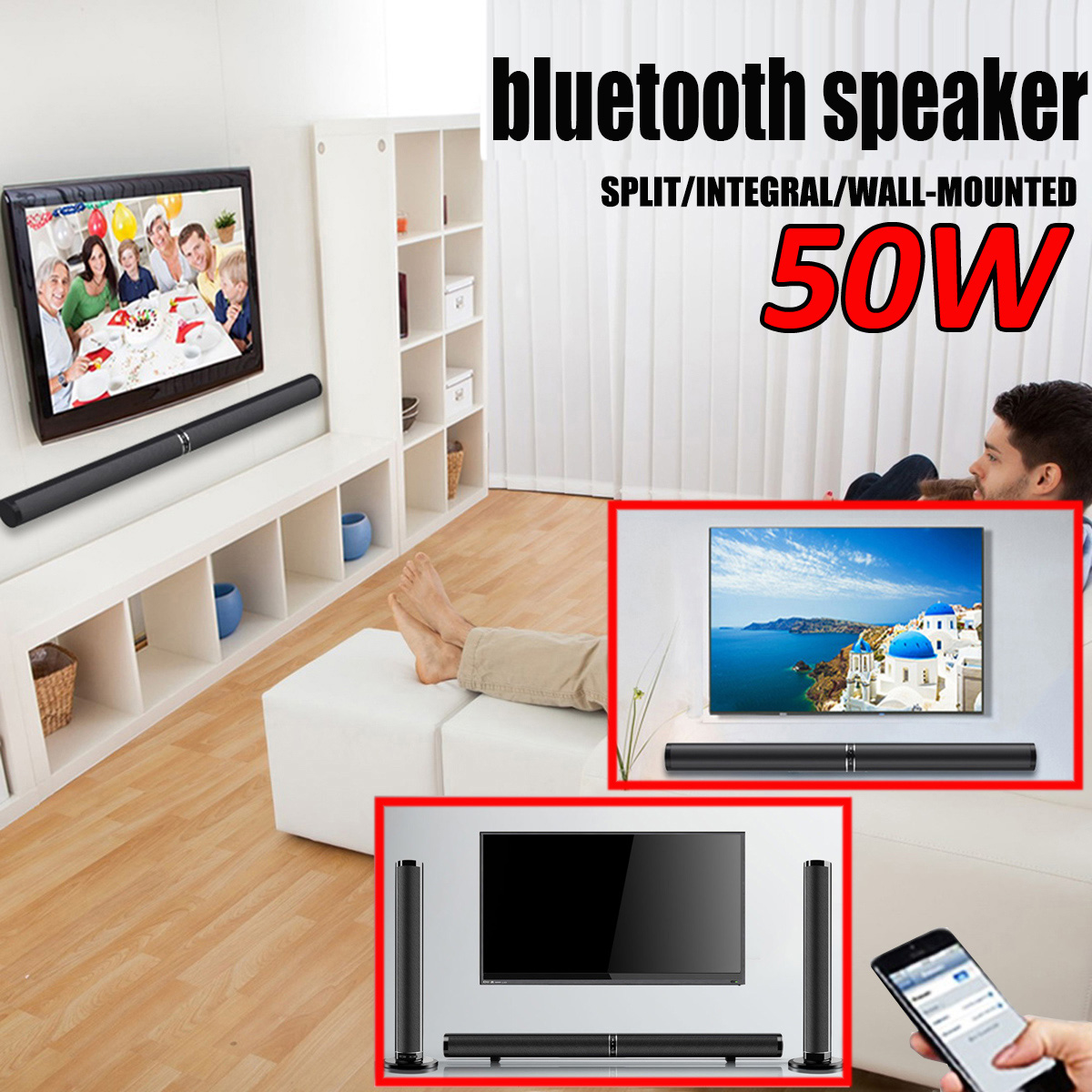 Bluetooth barre de son TV haut-parleur filaire et sans fil haut-parleur 3D Home cinéma Surround Subwoofer barre de son pour TV PC téléphone