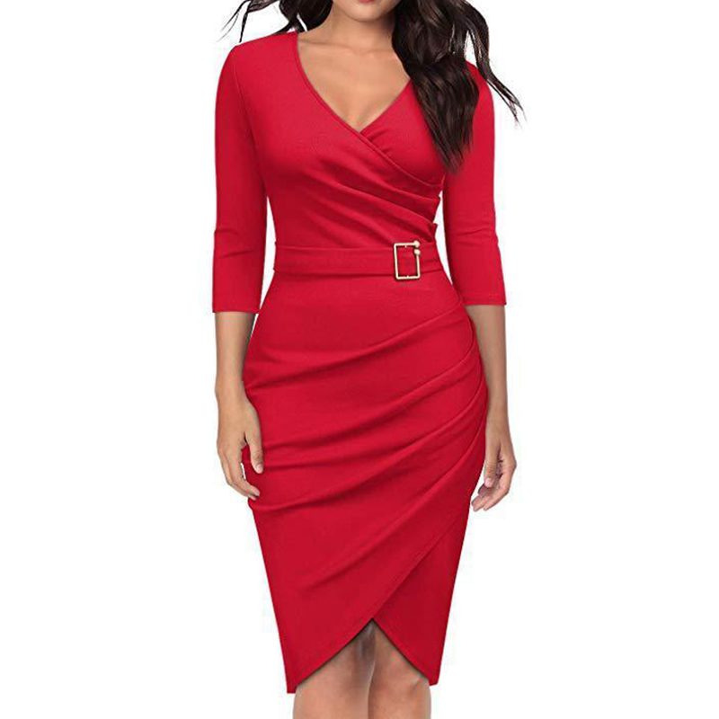 2019 Office Wear For Women Blazer Dress Woman Spring Summer V-Neck Slim Pencil Dresses Female Elegant Dress Fashion Vestidos