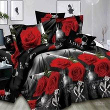 2/3/4pcs 3 3D Rose Diamond Ring Wedding Bedding Sets Twin King Queen Size Bed Duvet Cover Set Pillowcase Bedspread Bedclothes(China)