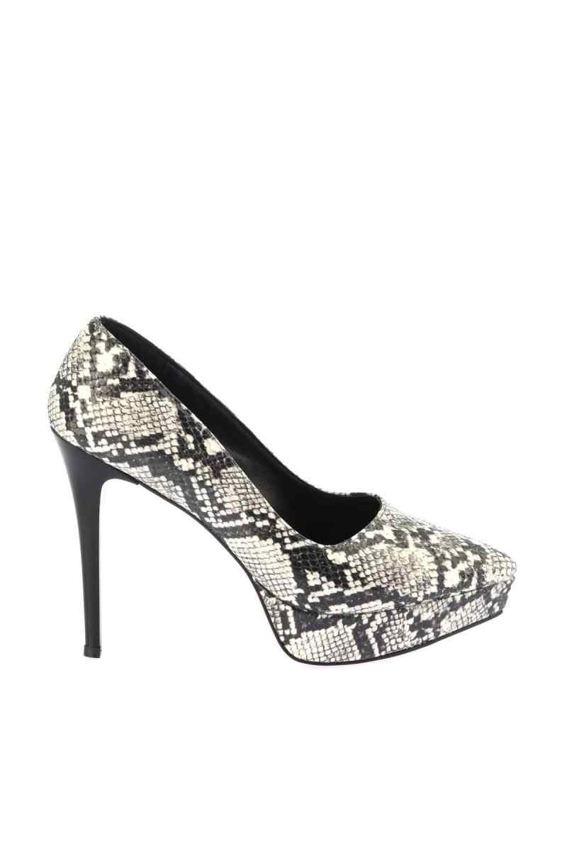 SOHO negro blanco serpiente zapatos de tacón alto para mujeres 12444