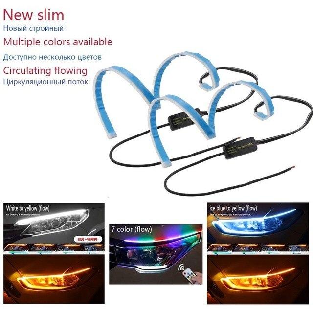 New slim 30/45/60 cm Flexible flowing car DRL running Angel Eyes sign amber white Ice blue 7color LED headlight led strip light