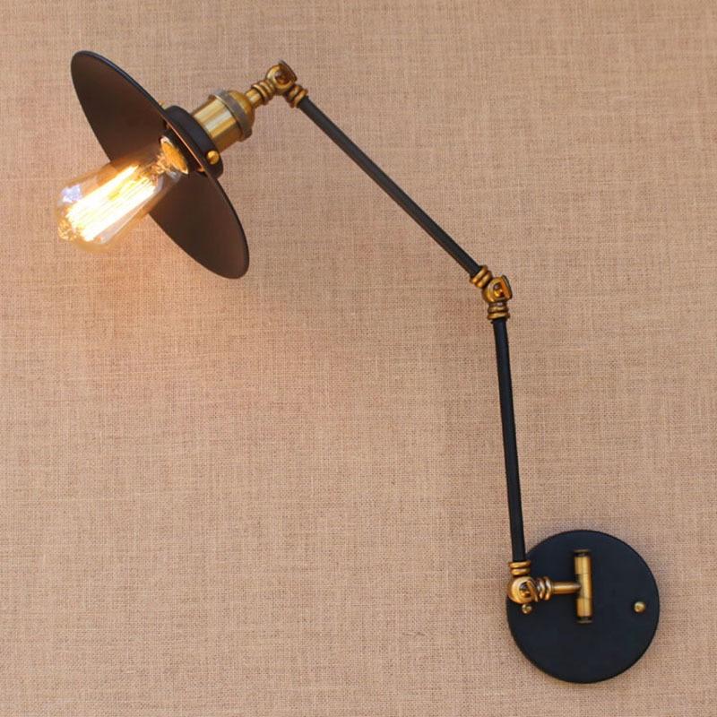 Здесь можно купить  Adjustable black Vintage iron swing long arm wall lamp e27 e26 lights modern for dining room living room bedroom restaurant bar  Свет и освещение