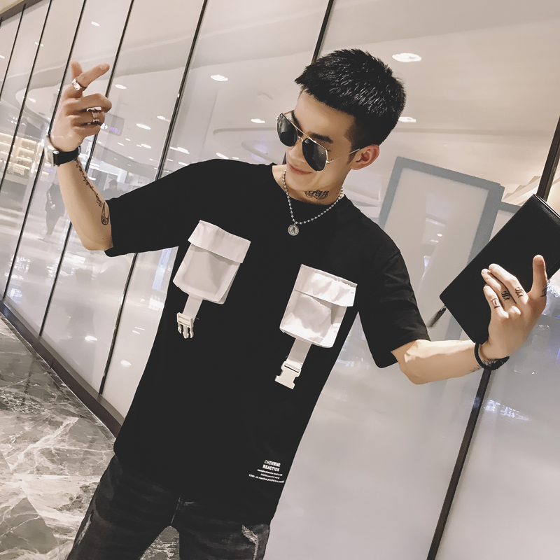 2019 summer social short sleeved T shirt male Korean version of self cultivation guys tooling pocket net red t shirt tide in T Shirts from Men 39 s Clothing