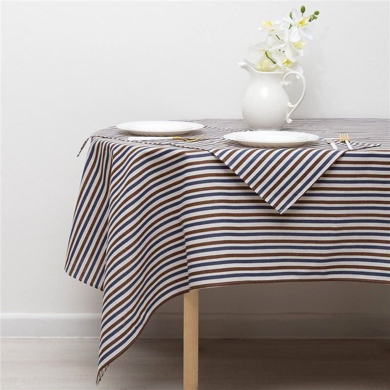 Set Доляна tablecloth 145х200см/wipes 40х40см 4 PCs, Strip Xing-is black, 100% PE, рогожка 200 C/M 358