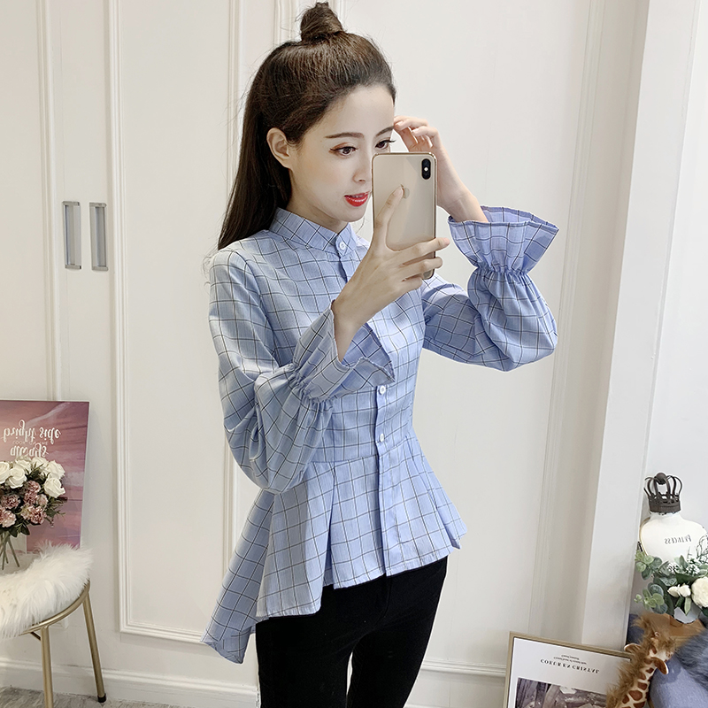 2019 New Spring Fashion Women Shirts Full Sleeve Plaid ! Dovetail Students Blouse Shirt Khaki Blue 6865 With The Best Service