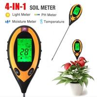 4 IN 1 Digital LCD Soil pH Water Moisture Meter Temperature Light Tester Detector For Hydroponics Garden Plant
