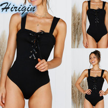 Summer Bodysuits 2019 New Women Black Sexy Sleeveless Bandage Bodysuit Slim Backless Lace Up