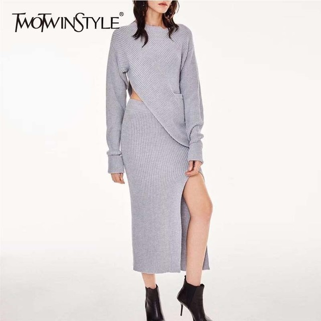a780ad32404 TWOTWINSTYLE Knitting Two Piece Set Skirt Female Asymmetrical Sweater  Pullover Women Side Split Knitted Midi Sexy Skirts Suits
