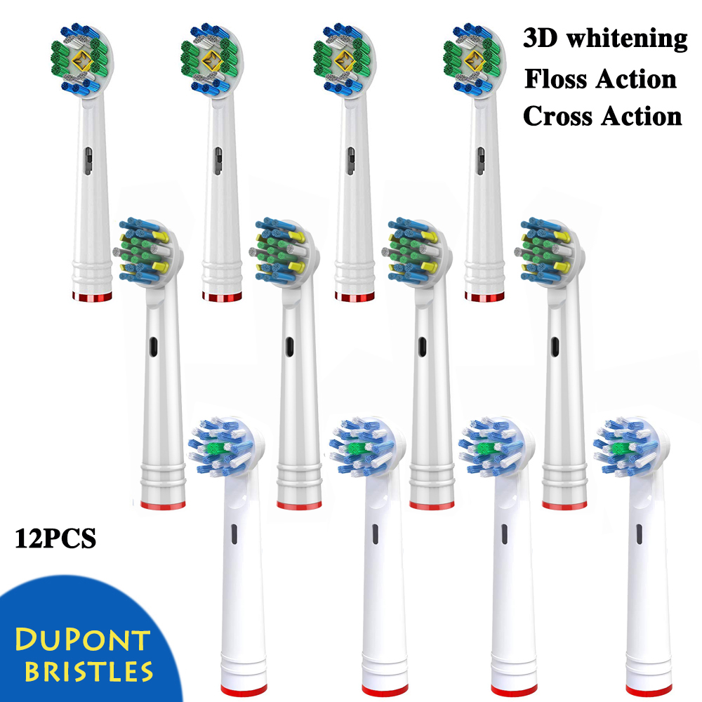 12pcs 3D White Floss Action Cross Action toothbrush heads Replacement For Braun Oral B D12 Triumph Vitality Electric toothbrush image