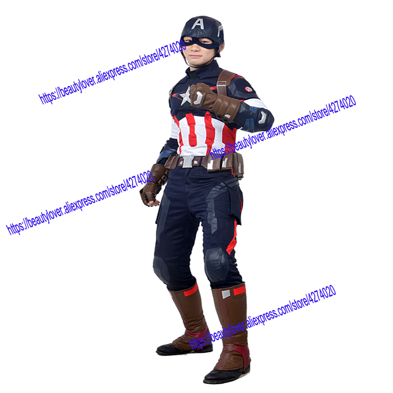 Captain America Cosplay Avengers 2 Age of Ultron Costume Jacket Man Adult Fantasy Steve Rogers men Halloween clothes