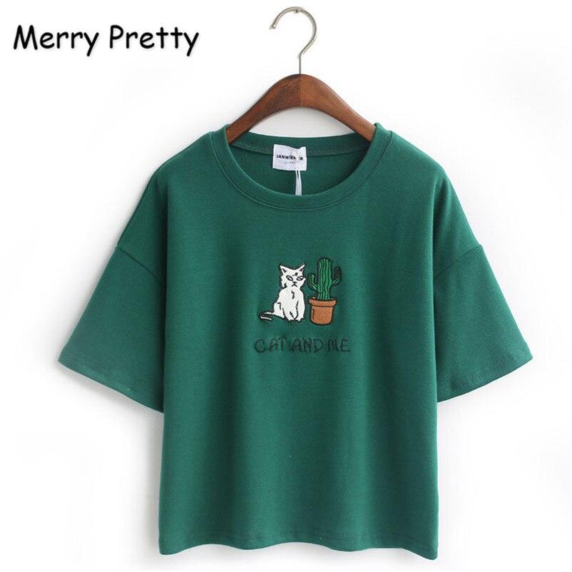 Merry Pretty Harajuku T Shirt Women Korean Style T-shirt Tee Kawaii Cat Embroidery Cotton Tops Shirt Camiseta Feminina Drop Ship