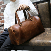 Large Capacity Coffee Travel Big Hand Bag Men Women Single Shoulder Business Luggage High Quality Crazy Horse Leather Creative