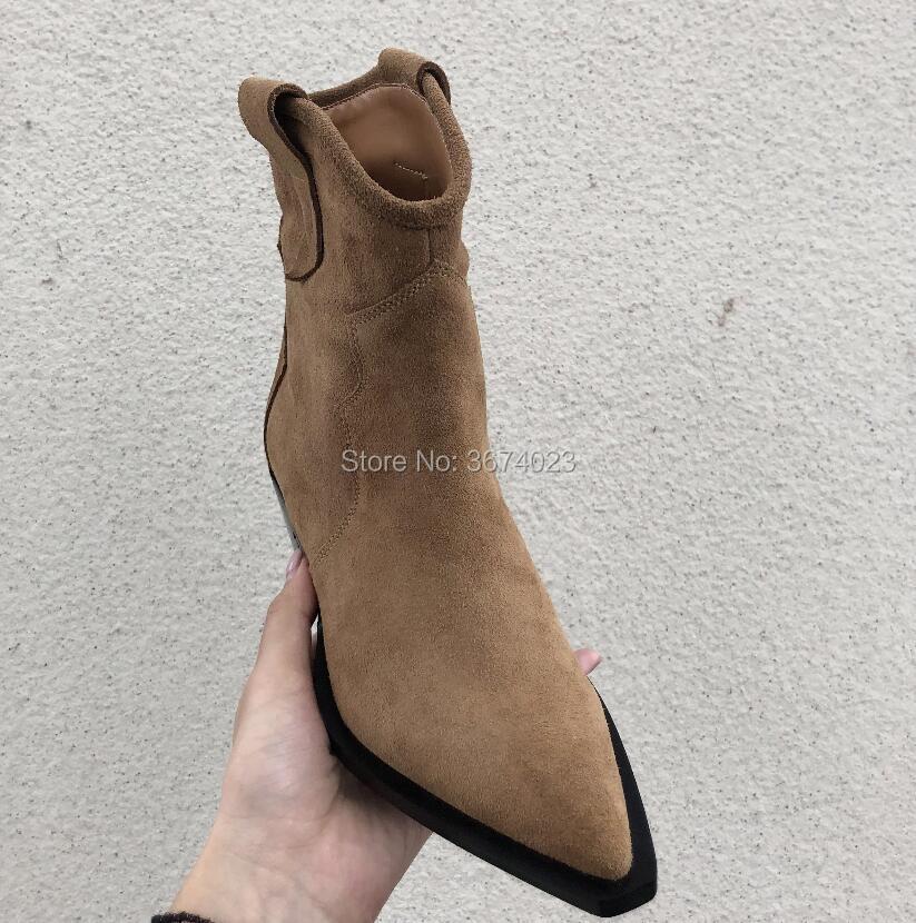 Qianruiti 2018 invierno de cuero botas de mujer Tan negro tobillo botas bloque bajo talones señaló Toe botas de vaquero zapatos mujer-in Botas hasta el tobillo from zapatos    2