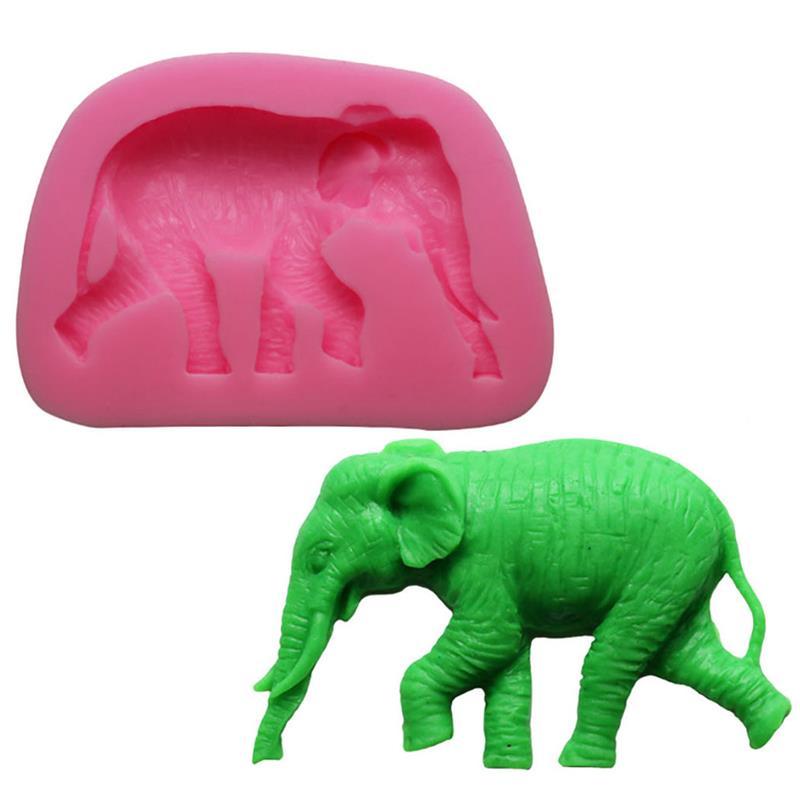Environmental Protection Animal Series Fondant Mold Elephant Shape Liquid Silicone Cake Chocolate Baking Tool Color Random