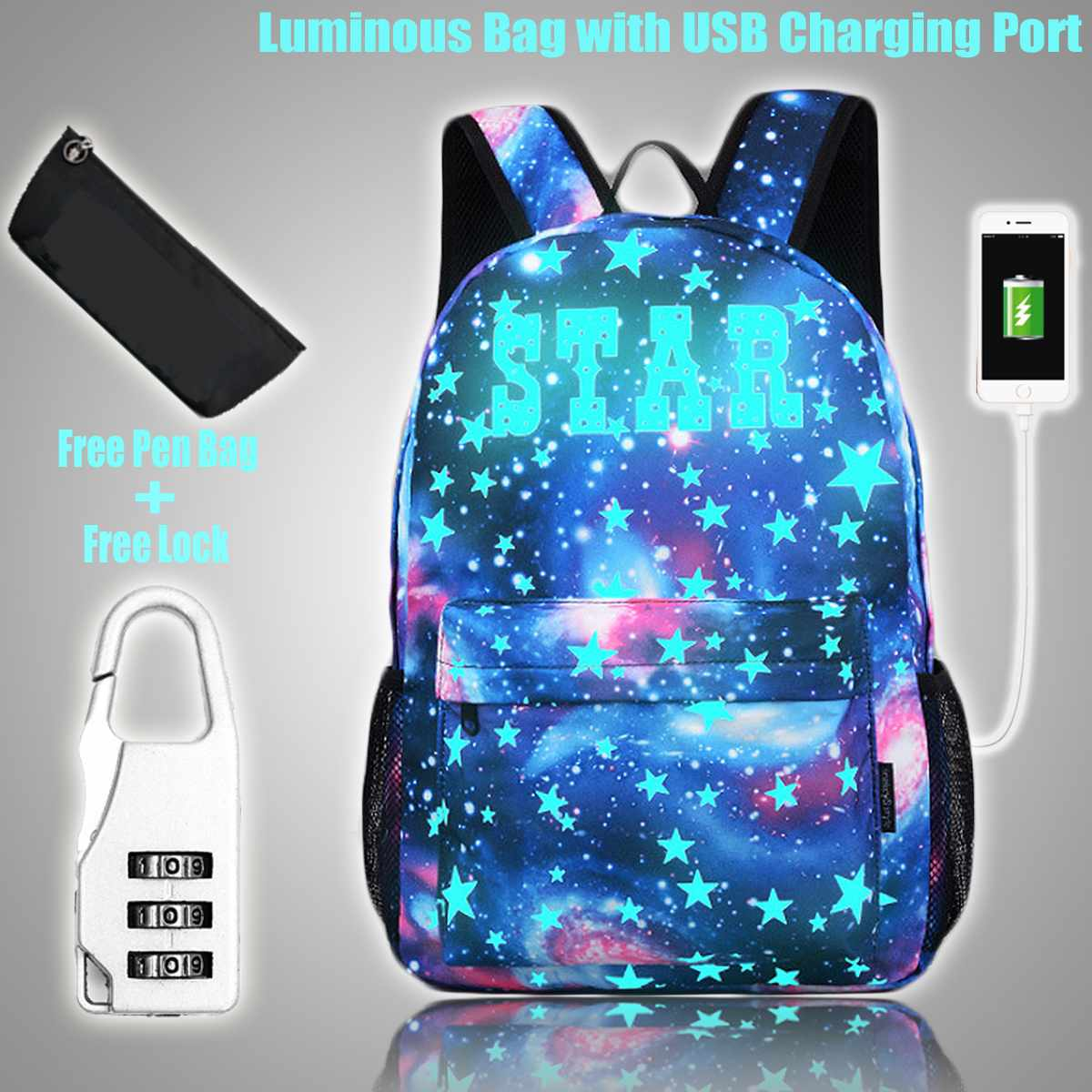 Luminous Anti-theft Student School Bag Backpack For Boy Girl Daypack With USB Charging Port Anti-theft Lock For Outdoor Camping