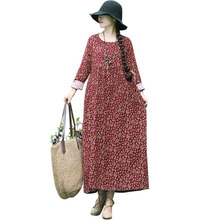 Casual Women Cotton Linen Long Maxi Dress Vintage Floral Print O Neck Long Sleeve Plus Size Loose Ethnic Dress Baggy Robe Female casual women o neck pocket summer asymmetric baggy plus size retro long harajuku dresses loose female