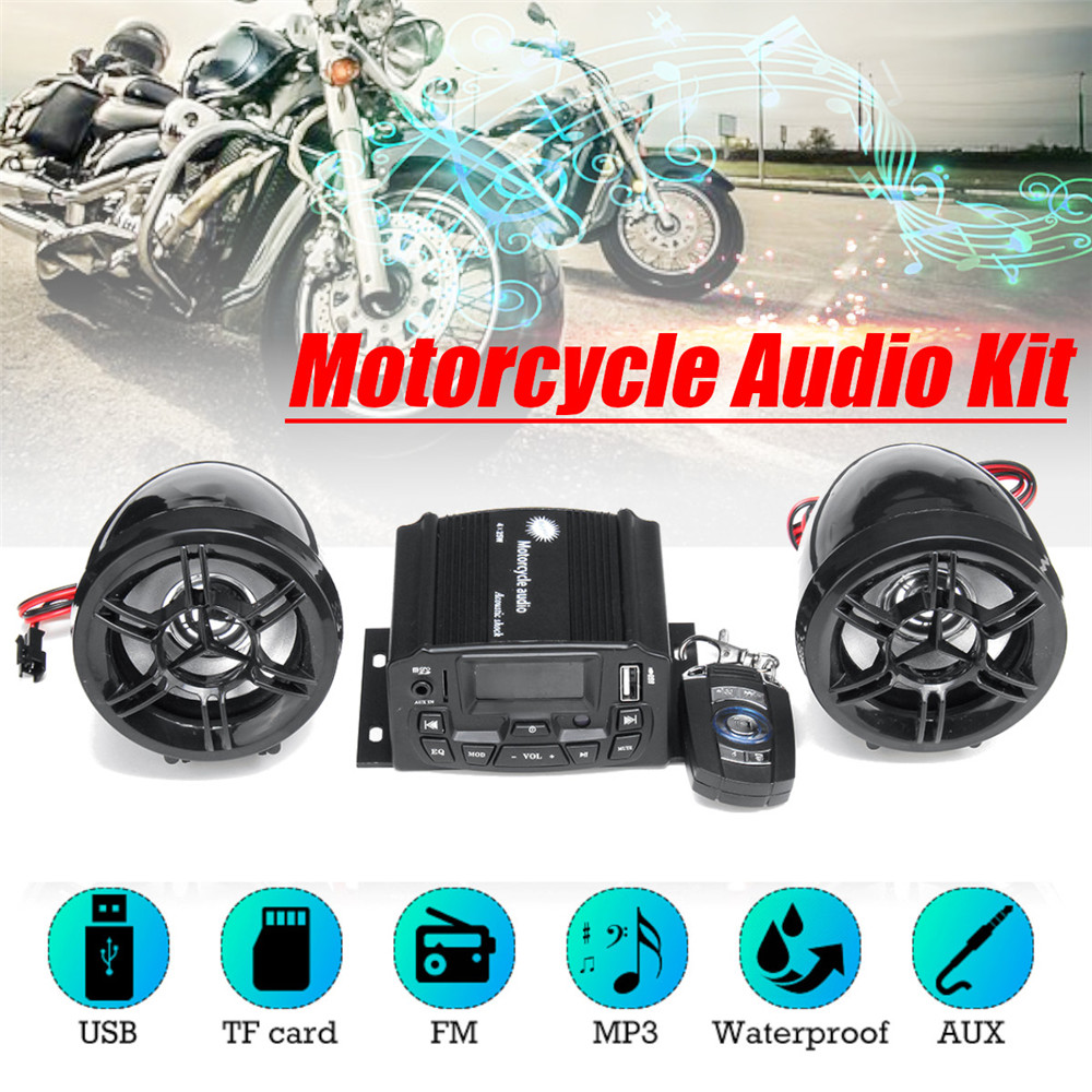 1 Set Motorcycle Handsfree Audio Sound System Remote Control 2 Speakers Music Player Suit FM SD USB MP3