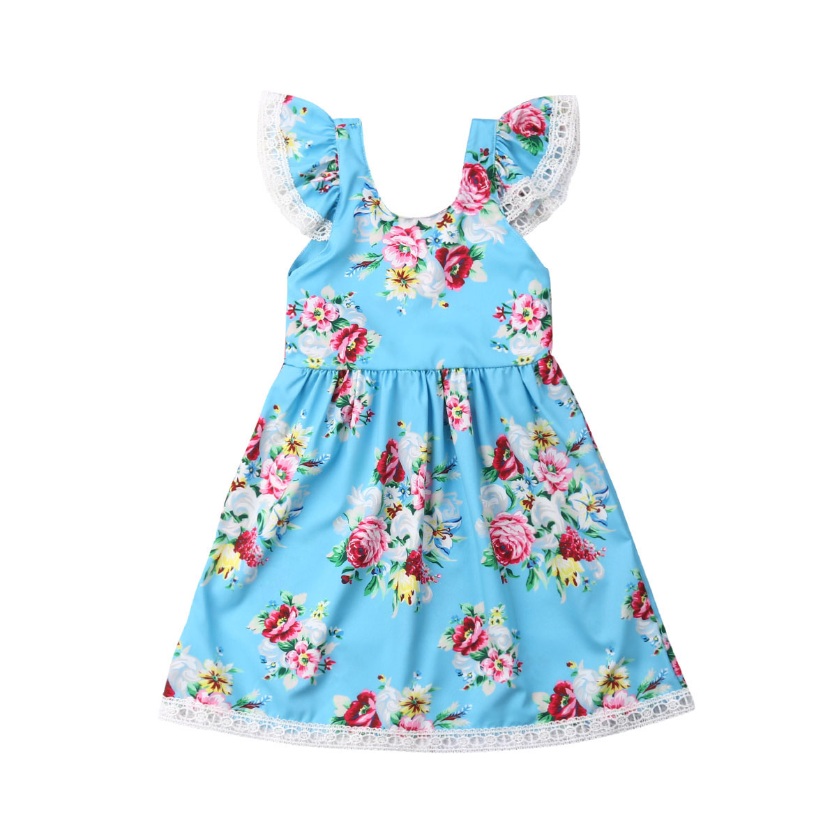 Princess Baby Girls Toddler Party Dress Fly Sleeve Floral Print Bow Pageant Wedding Birthday Summer Cotton Girl Clothes