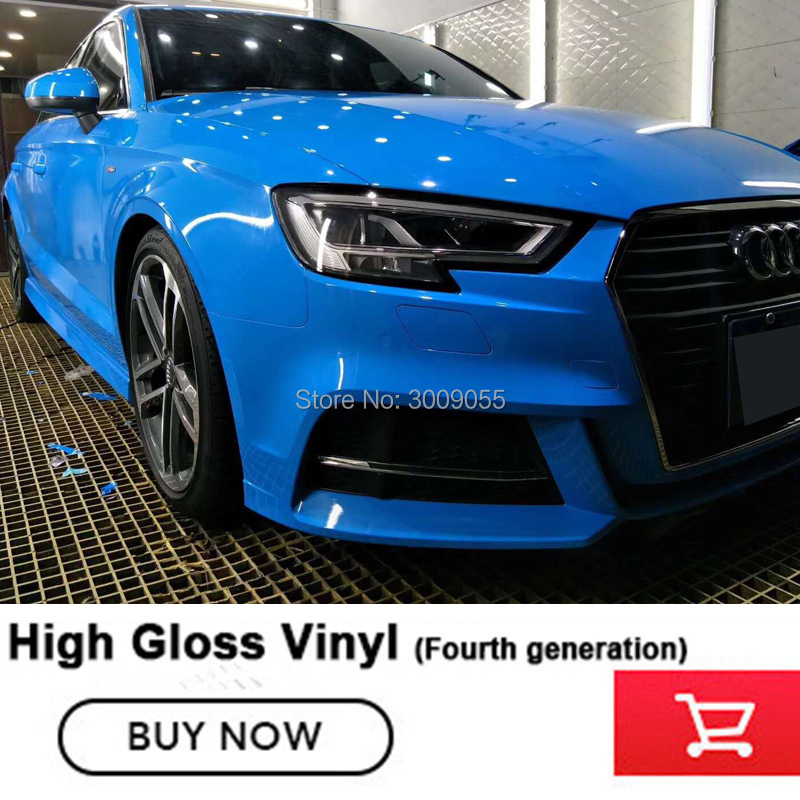 Highest quality Light blue glossy vinyl wrap film Car styling Glossy Vinyl sticke car wrap film