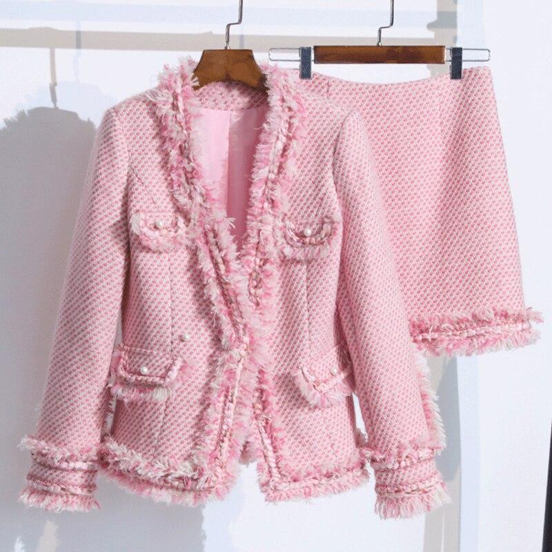 Элегантный розовый твидовый женский костюм, комплект 2018, зимний, с v образным вырезом, с толстой бахромой, с отделкой, Женский твидовый пиджак + юбка, комплект, дизайнерский, офисный, шикарный, шерстяное пальто
