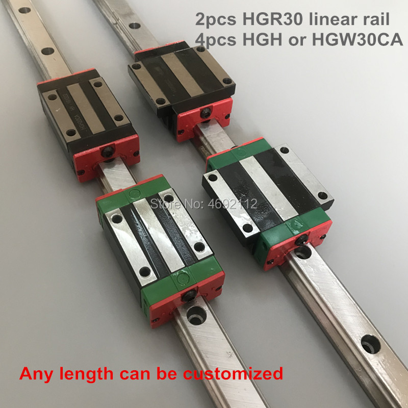 2pcs linear guide rail HGR30 - 550 600 650 700 750 800mm with 4 pcs  linear block carriage HGH30CA  or HGW30CA CNC parts2pcs linear guide rail HGR30 - 550 600 650 700 750 800mm with 4 pcs  linear block carriage HGH30CA  or HGW30CA CNC parts