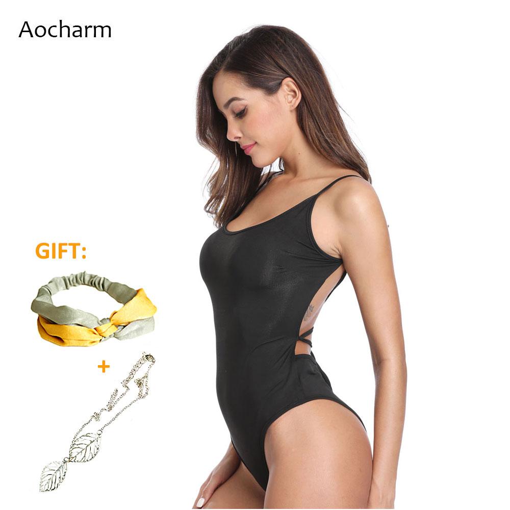 Aocharm Strappy Backless Bodysuit 2019 Women Summer Sexy Sleeveless Scoop Neck Bodysuits Party Club Skinny Body Female Overalls