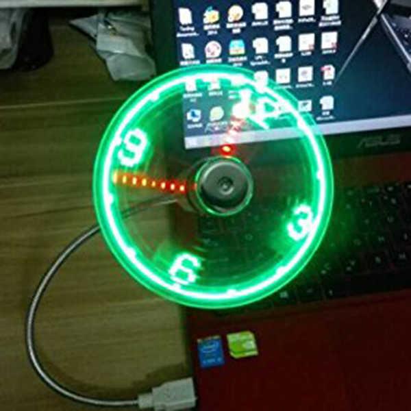 Лучший USB светодиодный вентилятор-часы с функцией отображения в режиме реального времени, часы-вентилятор USB, серебристый