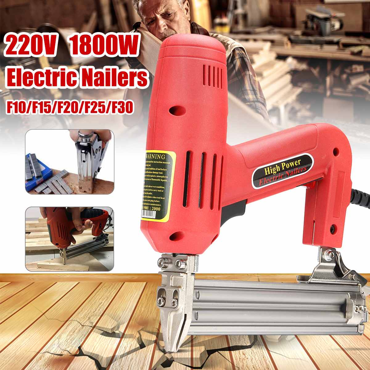 220V 1800W Electric Nailer And Stapler For Furniture Staple For Gun For Frame With Staples Nails Carpentry Woodworking Tools