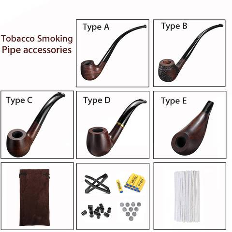 Ebony Durable Wooden Long Handle Tobacco Smoking Pipe + Tobacco Cigarettes Cigar Pipes Accessories For Boyfriend Father Gift Lahore