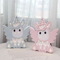 INS Unicorn Angel LED Night Light Nordic Cartoon Wall Hanging For Children Room Decoration Lovely Baby Photographic Props Gift