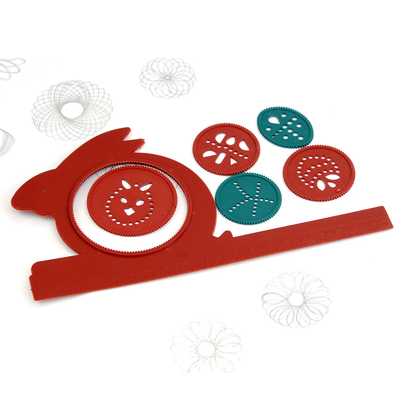 Cute Rulers Creative Item Kawaii Rabbit Shape Spirograph Template Rulers For Kids Gift Drawing Stationery School Office Supplies