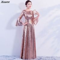 Sequined Flare Sleeve 2019 Women's elegant long gown party proms for gratuating date ceremony gala evenings dresses up Xnxee