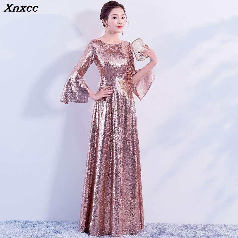 Manches évasées pailletées 2019 femmes élégant longue robe de soirée proms pour la date gratuite cérémonie gala soirées robes jusqu'à Xnxee