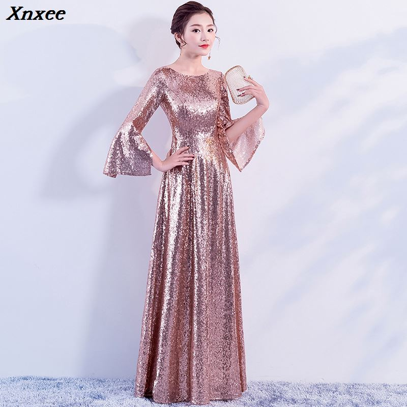 Sequined Flare Sleeve 2019 Women 39 s elegant long gown party proms for gratuating date ceremony gala evenings dresses up Xnxee in Dresses from Women 39 s Clothing