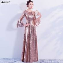 Sequined Flare Sleeve 2020 Women's elegant long gown party proms for gratuating date ceremony gala evenings dresses up Xnxee(China)