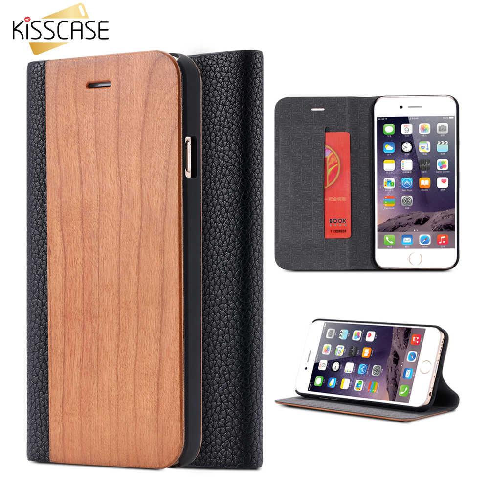 KISSCASE Hout Flip Case Voor iPhone 8 7 6 S Plus XS Max X XR Gevallen Echt Bamboe Lederen Portemonnee stand Voor iPhone 6 6 s 7 8 Case