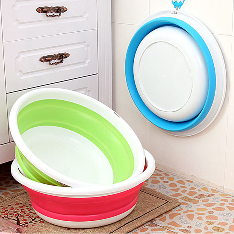 1PCS Folding Bucket Portable Collapsible Basins Car Washing Tool Vegetable Fruit Basin High Capacity Household Cleaning Supplies