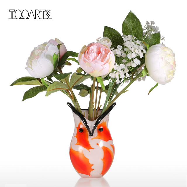 Tooarts Flower vases for homes Owl Container Gift Glass Ornament Animal Figurine nordic decoration home vase decoration home