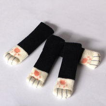 4pcs Chair Leg Socks Home Furniture Leg Floor Protectors Non-slip Table Legs Sleeve Cat Claw Chair Cover Knitting Socks(China)