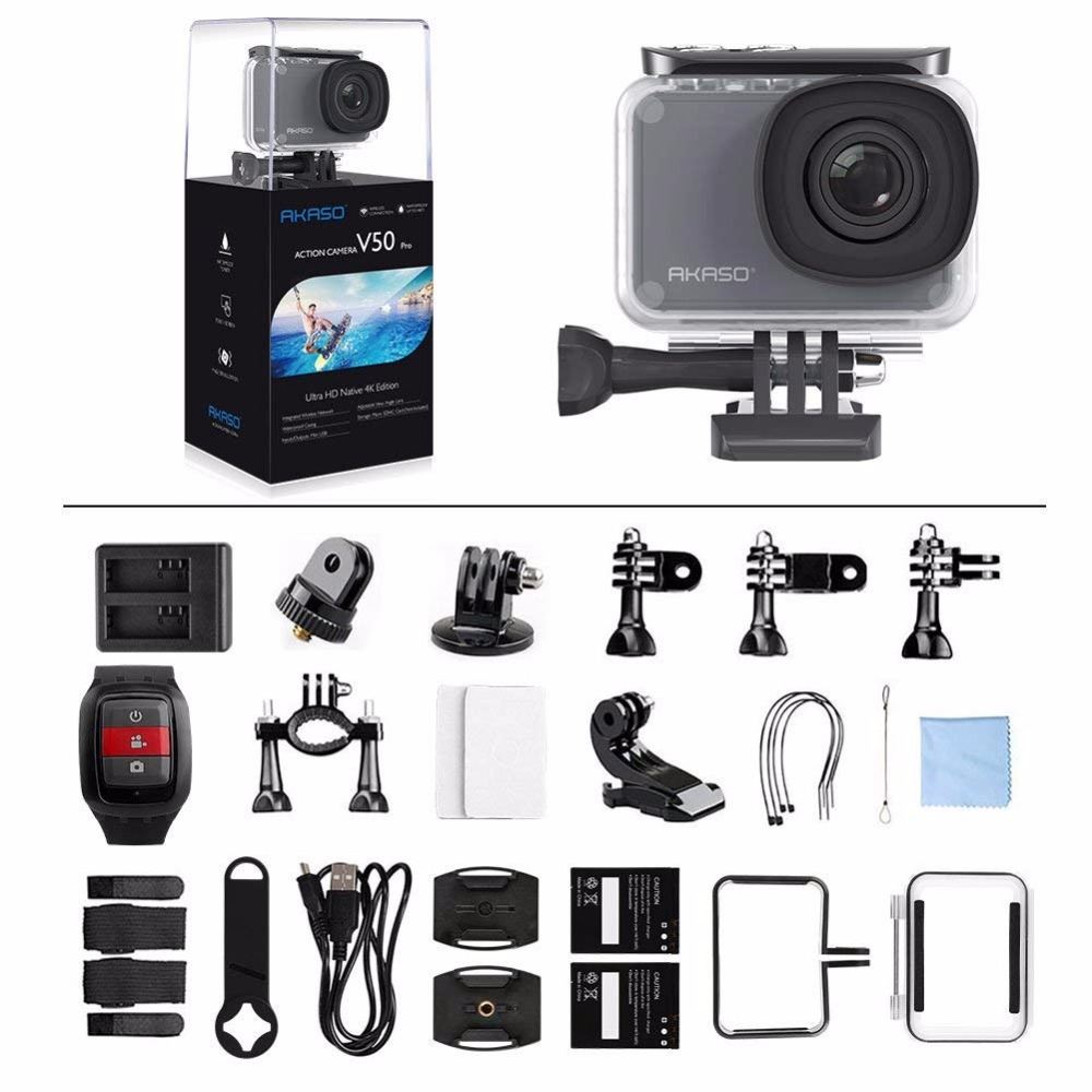 AKASO V50 Pro Nativa 4 k/30fps 20MP WiFi Macchina Fotografica di Azione Digitale EIS 30 m impermeabile di Sport andare Casco pro sport cam + Regalo Selfie Bastone